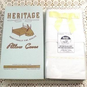 Vintage NIP Heritage Pillow Cases with Embroidery